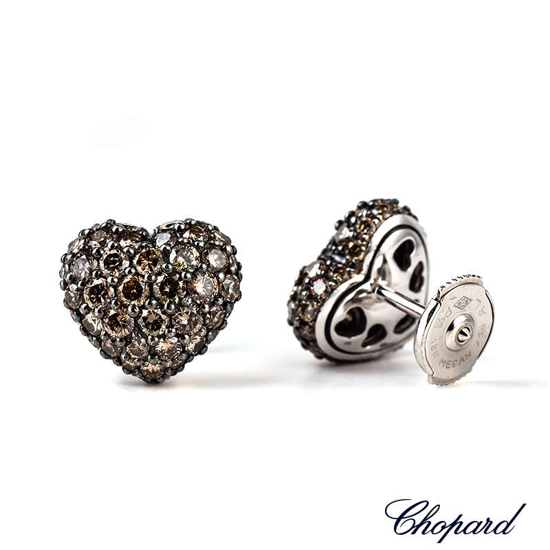 Chopard White Gold Diamond Heart Earrings 83/4203-1008
